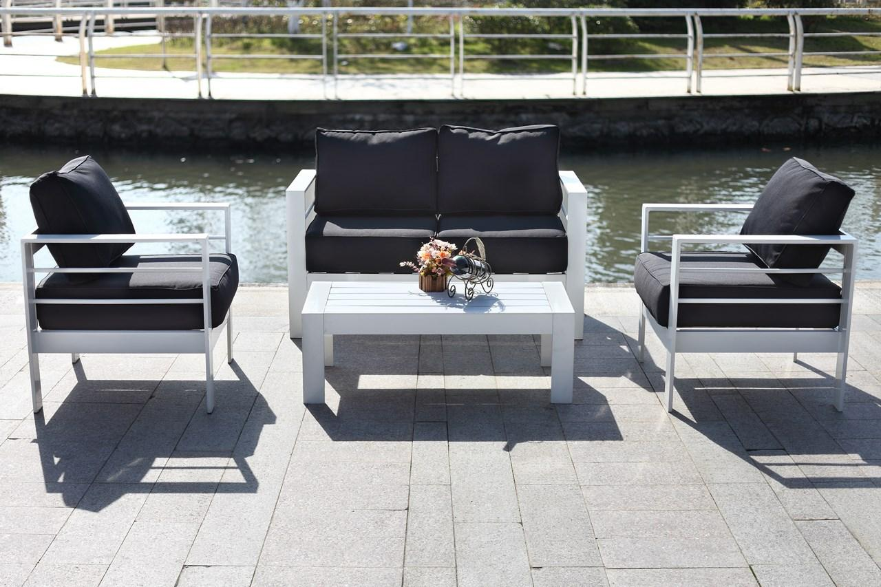 Delightful Smooth And Sleek, This Contemporary 4 Piece Outdoor Living Set Was Inspired  By Madrid?s Latest Lounge Destination. Its Modern Angles Are Paired With  Plush ...