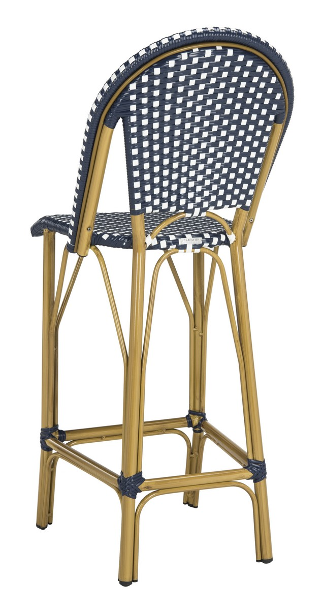 Safavieh PAT4008A Collection Ford Navy and White Indoor//Outdoor Stacking French Bistro Bar Stool