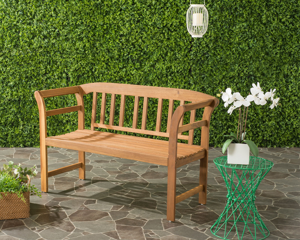 Traditional Outdoor Furniture Part - 48: This 2 Seat Outdoor Bench Is A Instant Classic. Simple, Clean Lines And A  Natural Teak Brown Finish Make It Perfect For Contemporary And Traditional  Outdoor ...