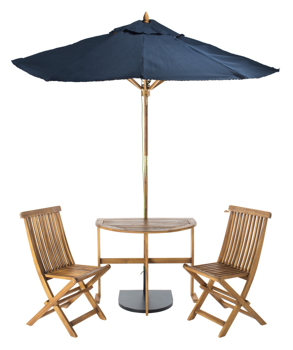 This Modern Half Patio Set Brings Bistro Style Charm To Any Outdoor Living Area Sheltered By A Bold Navy Umbrella Its Acacia Wood Features Natural