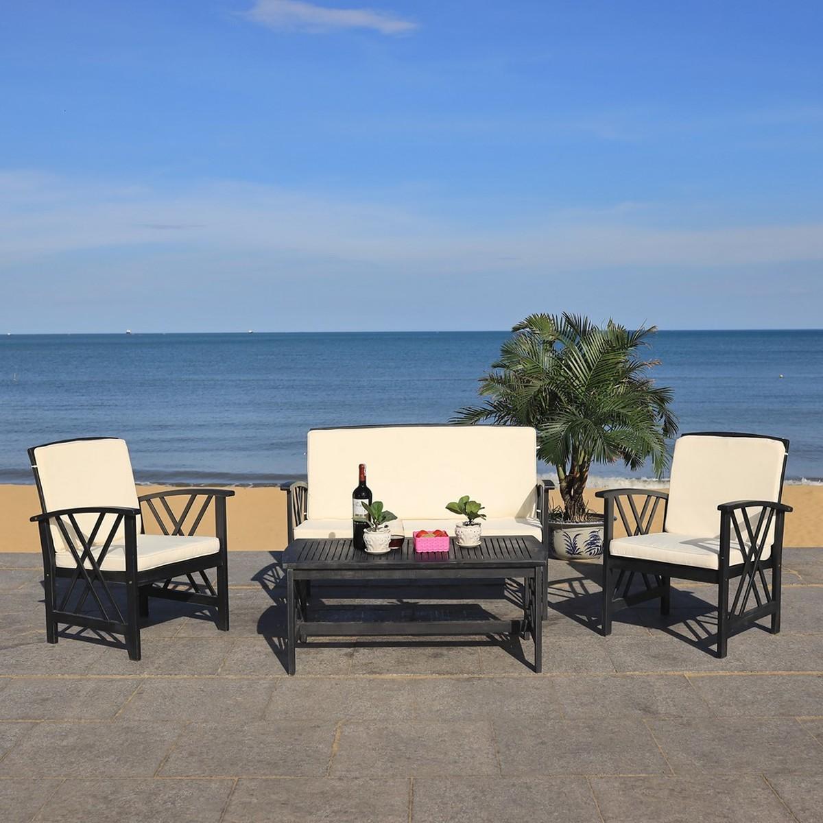 PAT7008E Patio Sets - 4 Piece - Furniture by Safavieh on Safavieh Outdoor Living Fontana id=24100