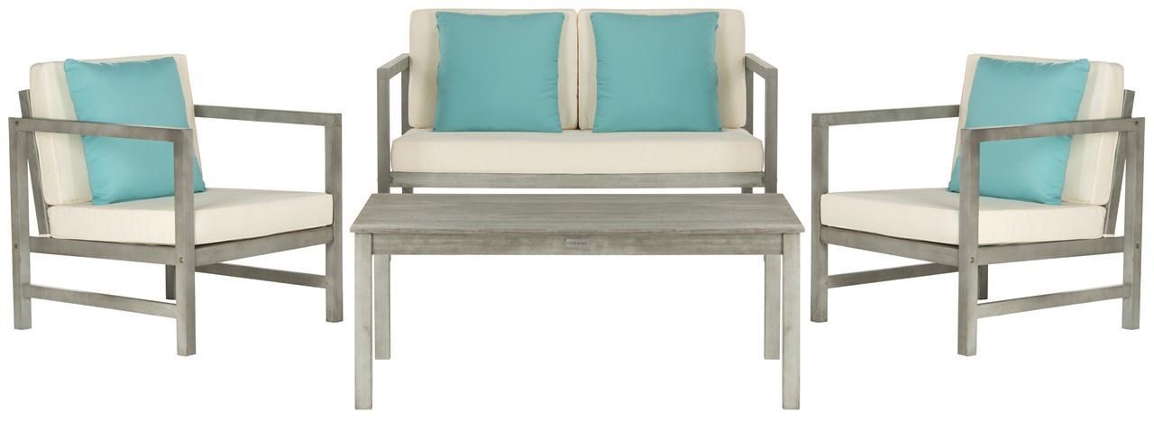 Pat7030b Patio Sets 4 Piece, Safavieh Outdoor Furniture Gray