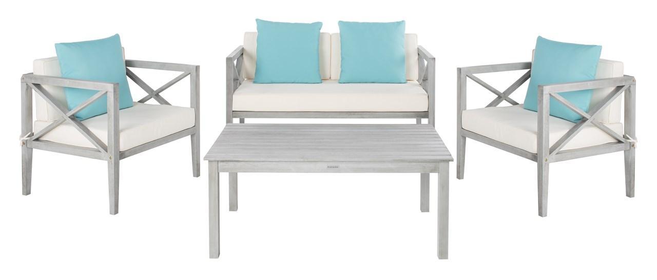 Pat7031b Patio Sets 4 Piece, Safavieh Outdoor Furniture Gray