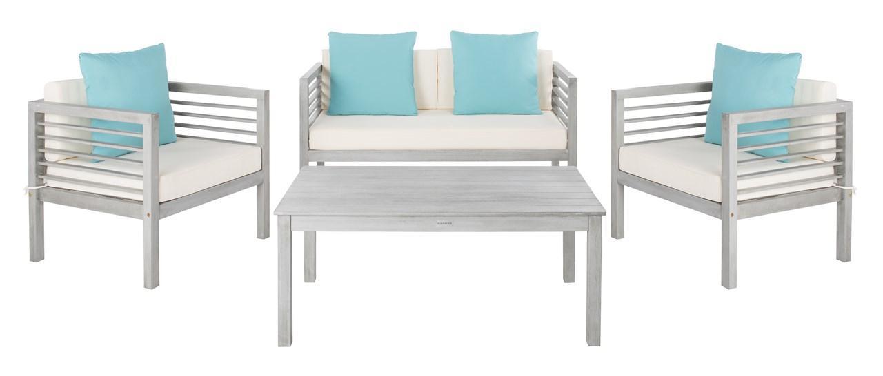 Pat7033b Patio Sets 4 Piece, Safavieh Outdoor Furniture Gray