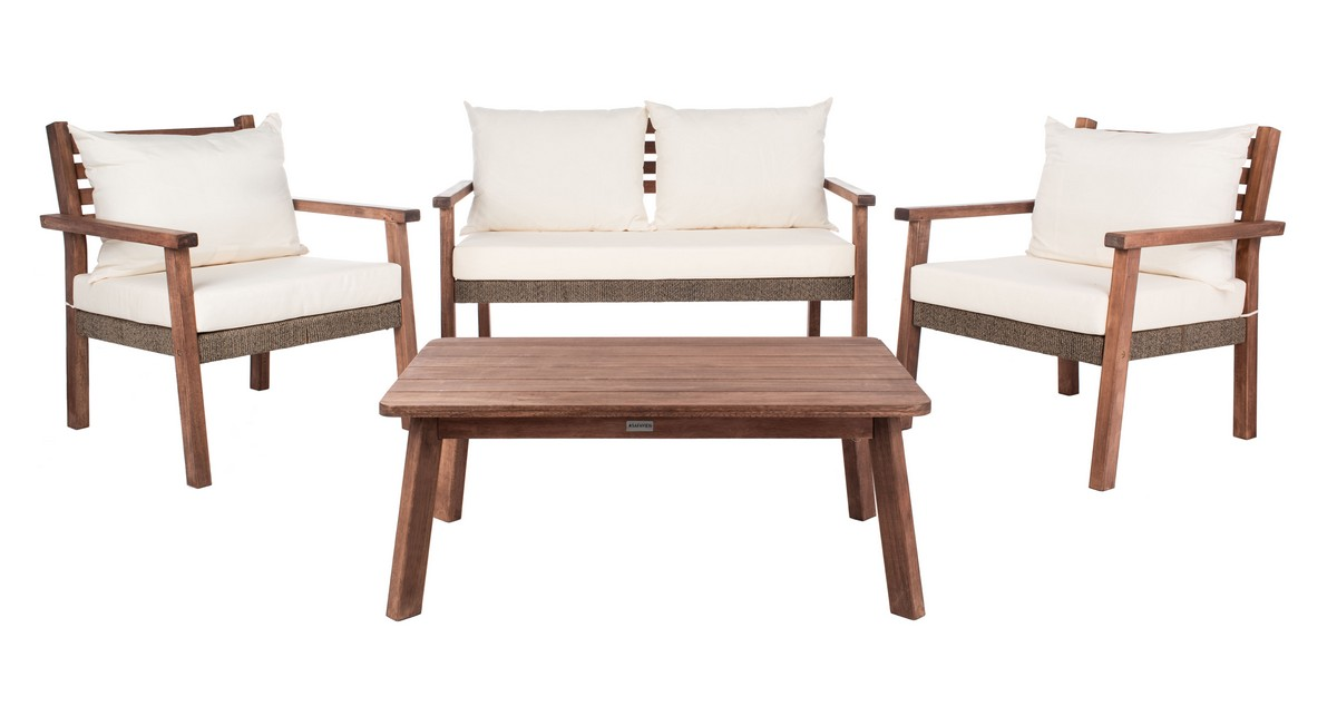 Pat7051a Patio Sets 4 Piece, Safavieh Outdoor Furniture Gray