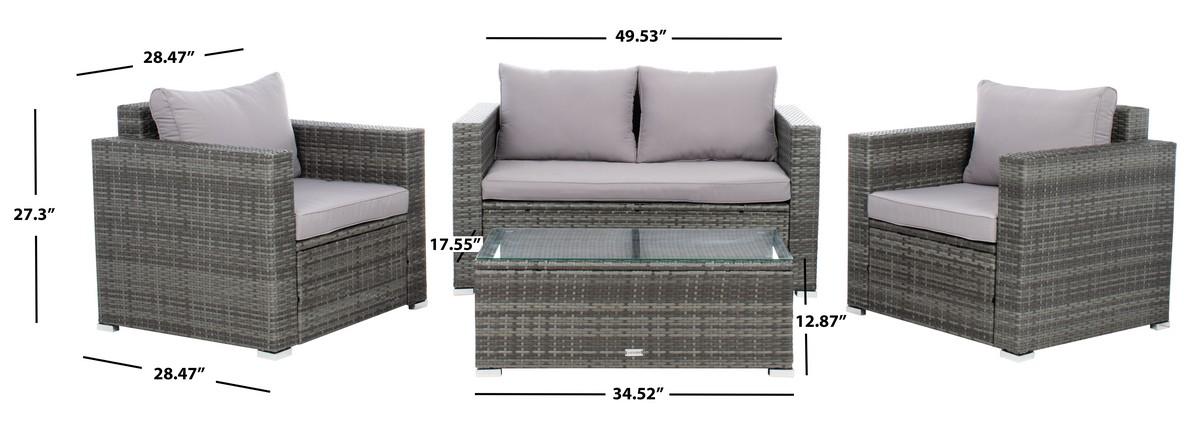 Pat7508b 2bx Patio Sets 4 Piece, Safavieh Outdoor Furniture Gray