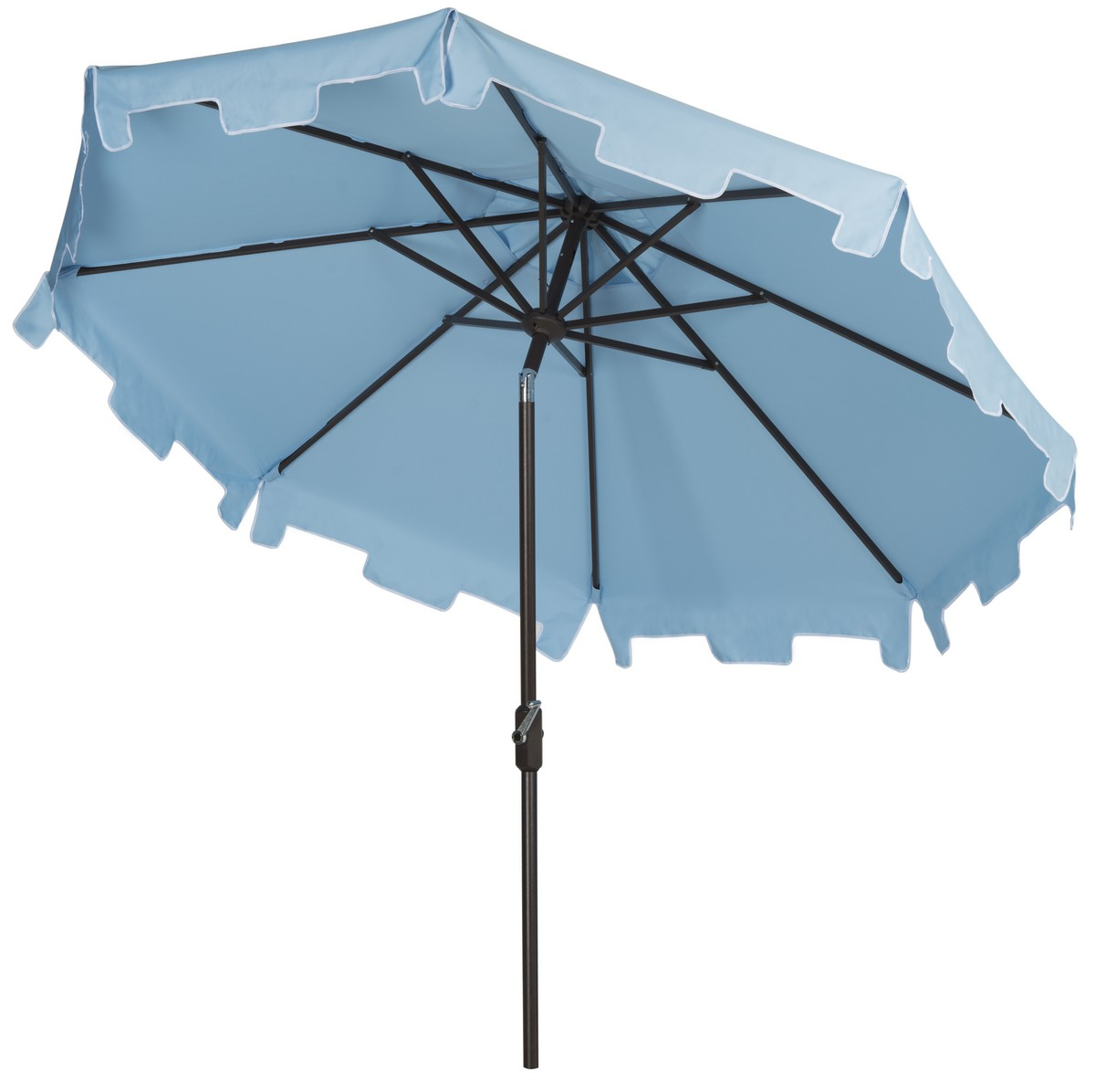 A Classic French Blue Market Umbrella Gets A Chic Makeover With The  Addition Of A Valance For Extra Sun Protection And European Flair.