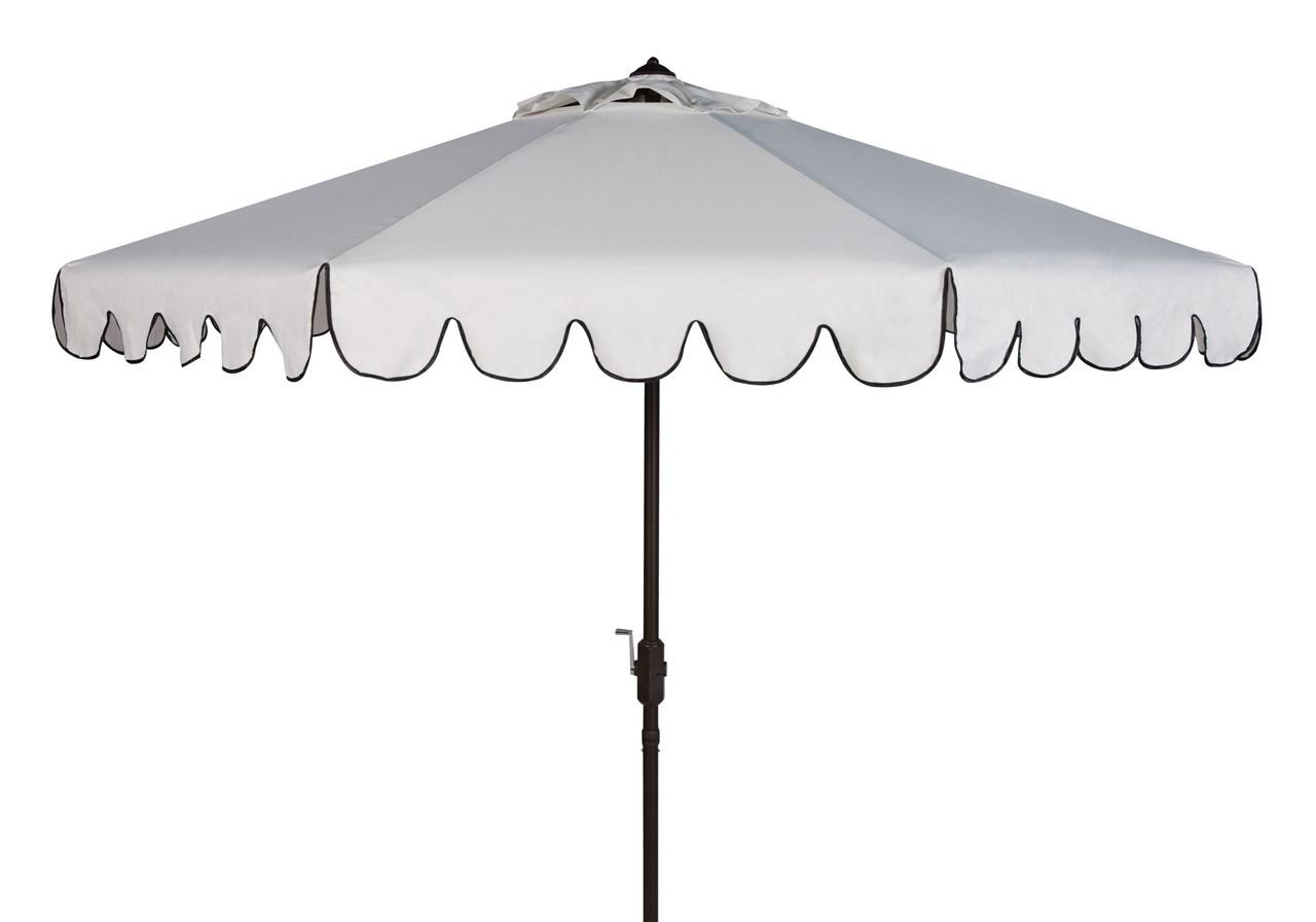 VENICE SINGLE SCALLOP 9FT CRANK OUTDOOR AUTO TILT UMBRELLA Item: PAT8010E  Color: White / Black