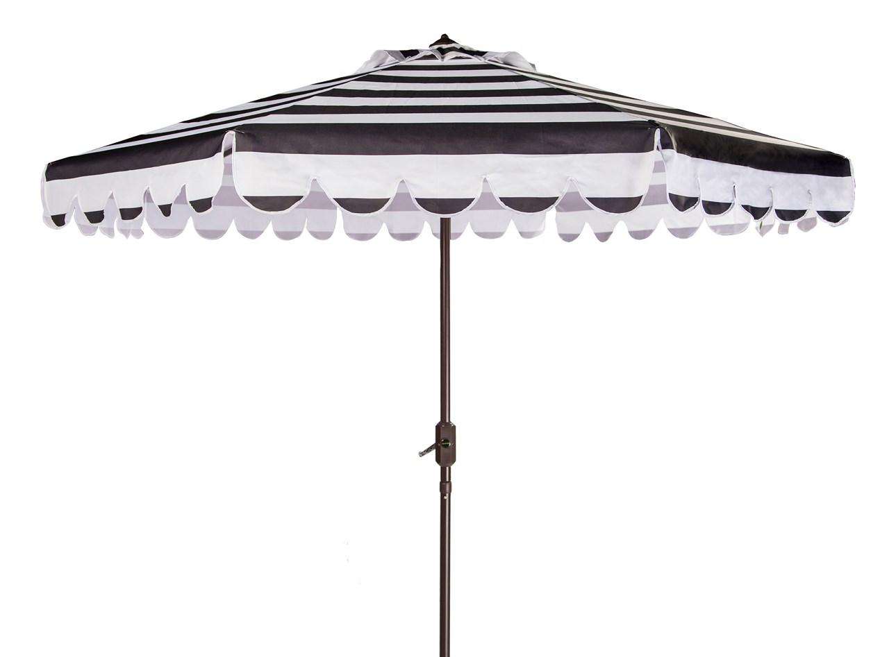 Maui Single Scallop Striped 9ft Crank Auto Tilt Umbrella Item Pat8011d Color Black White