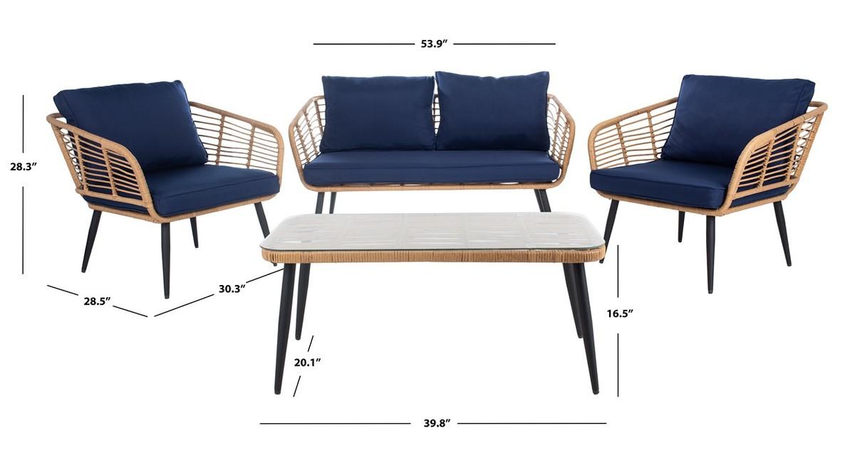 Admirable Pat9006B Patio Sets 4 Piece Furniture By Safavieh Frankydiablos Diy Chair Ideas Frankydiabloscom