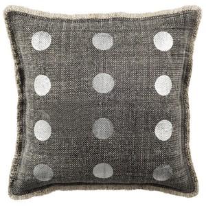 metallic dots item pls950a color charcoal - Grey Throw Pillows