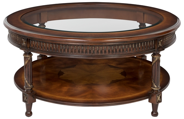 Traditional Wood Carved Gilded Round Coffee Table Safavieh