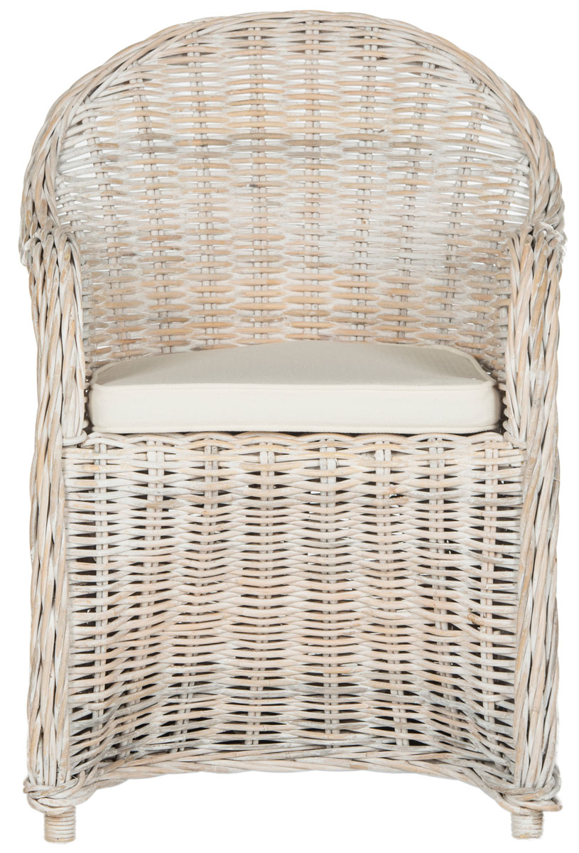 This White Washed Kubu Rattan Club Chair Features A Graceful Curved Silhouette With Rolled Arms And Back Woven Of Natural Eco Friendly