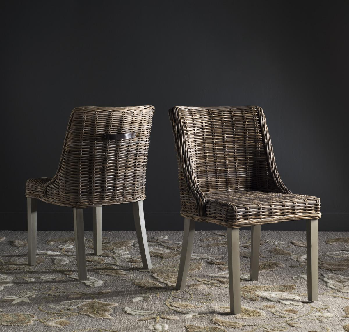 Caprice 18 H Wicker Dining Chair With Leather Handle Sea7005a Set2 Chairs