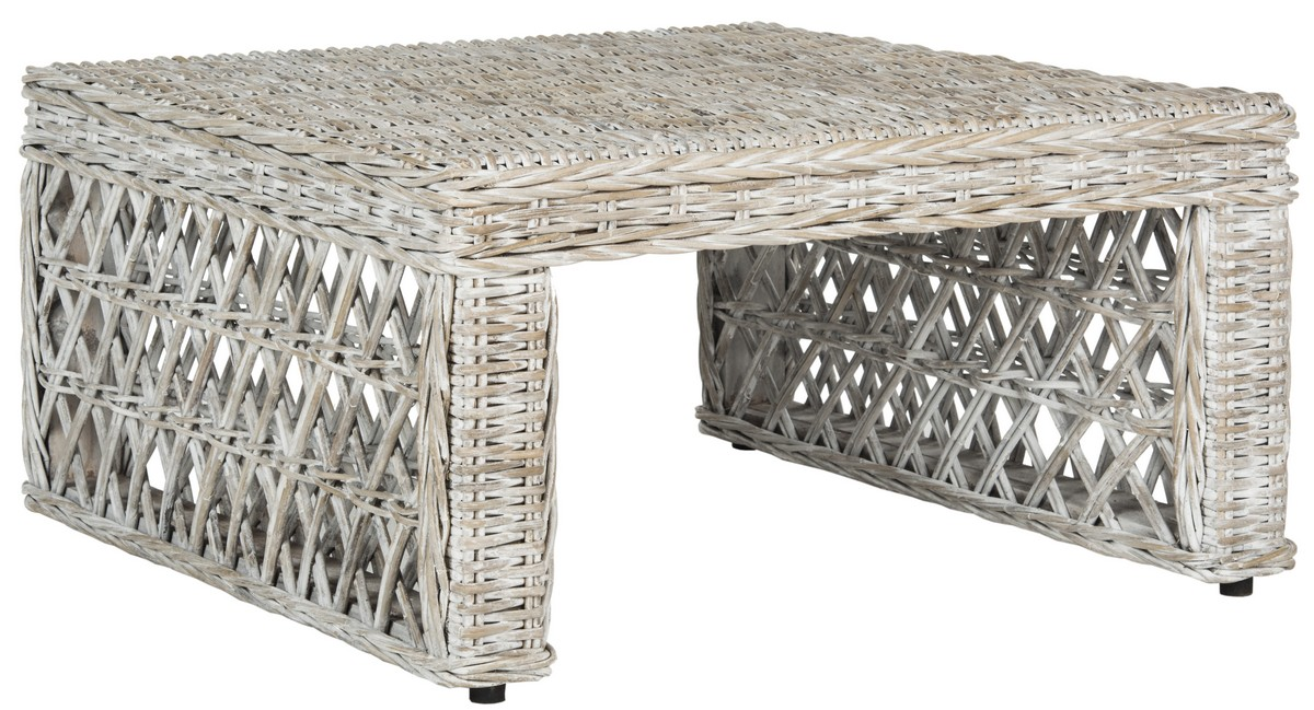 SEAA Coffee Tables Furniture By Safavieh - Gray wicker coffee table