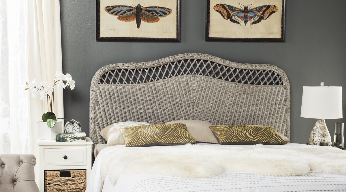 sephina antique grey headboard headboards  furniture by safavieh - choose this intricately woven antique grey rattan queen headboard for afeminine look in coastal and country bedrooms crafted in a combination ofrattan