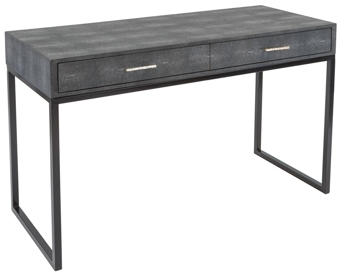 ... Bedroom Or Home Office, The Scarlett Desk Is Crafted Of Resin With A  Natural Sting Ray Finish. The Two Drawer Top With Silver Handles Sits On  Black ...