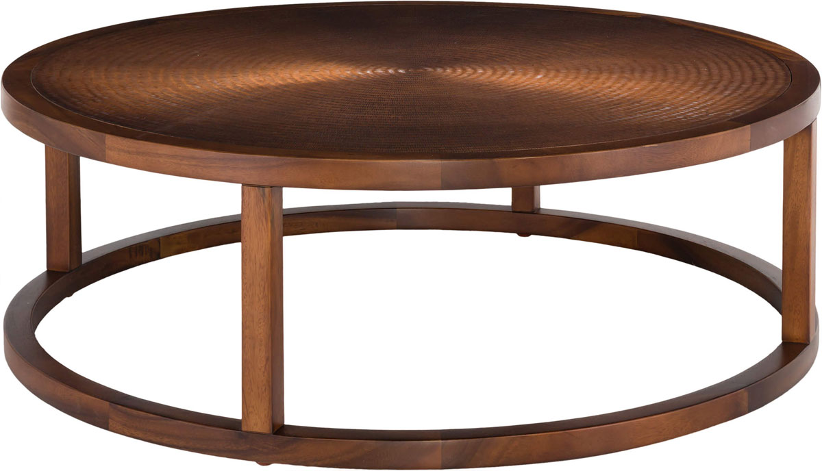 Contemporary Wood Copper Round Coffee Table