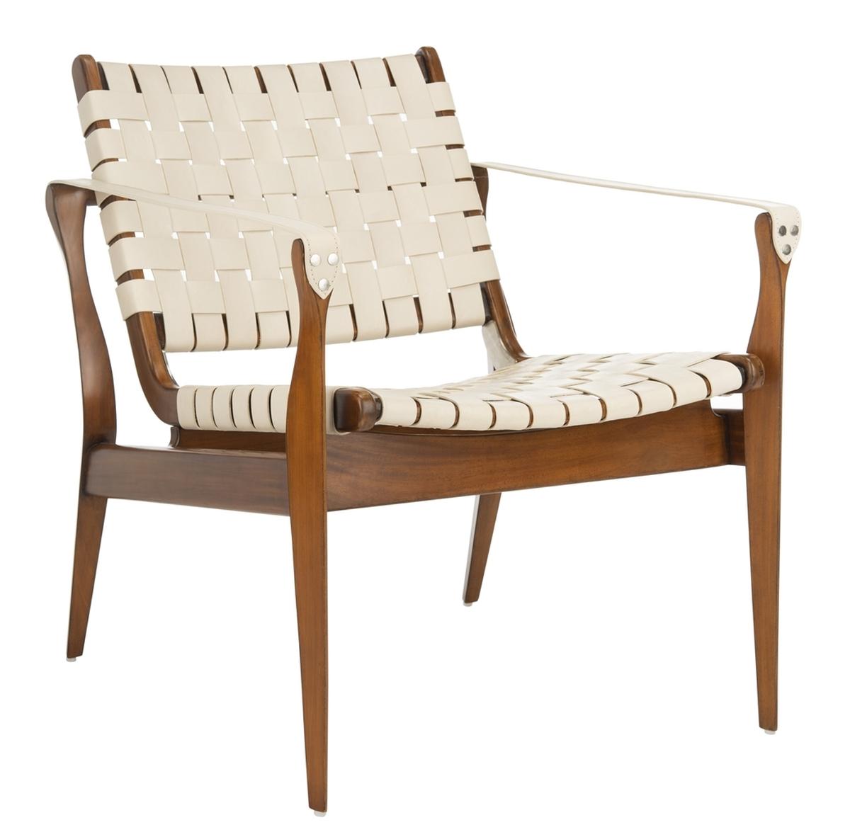 Astonishing Mid Century Modern Woven Leather Strap Armchair Safavieh Creativecarmelina Interior Chair Design Creativecarmelinacom