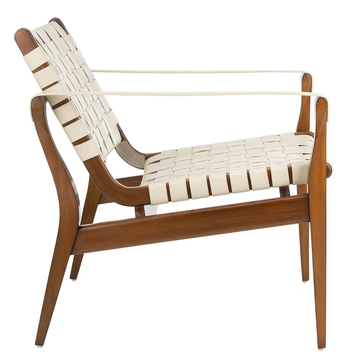 Stupendous Mid Century Modern Woven Leather Strap Armchair Safavieh Creativecarmelina Interior Chair Design Creativecarmelinacom