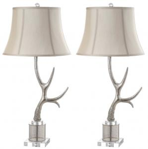 Charming ADELE ANTLER 16 INCH H TABLE LAMP Item: TBL4011A SET2 Color: SILVER   CREAM