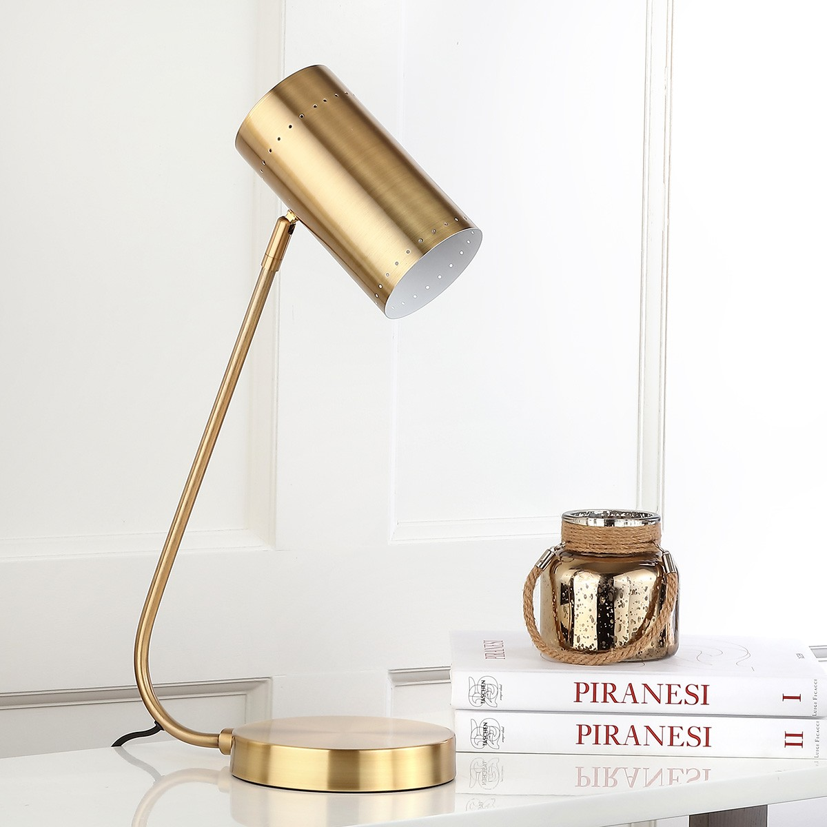Bring form and function to any living room or home office with the clean  lines and curves of this contemporary table lamp  Finished in a shimmering  gold hue  TBL4035A Table Lamps   Lighting by Safavieh. Contemporary Table Lamps For Living Room. Home Design Ideas