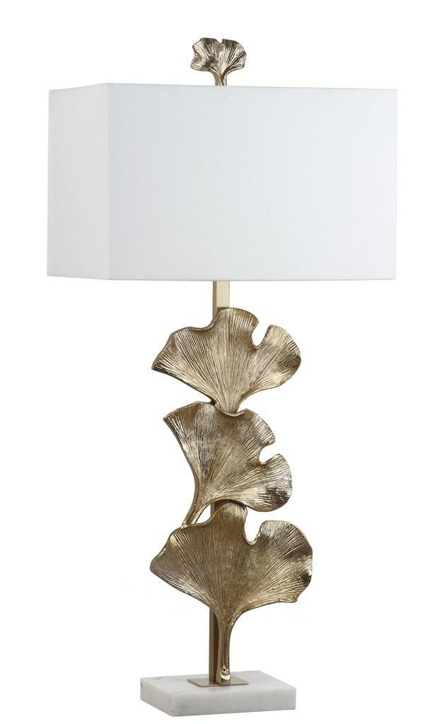 TALA GINKGO LEAF TABLE LAMP Item: TBL4053A Color: ANTIQUE GOLD   OFF WHITE