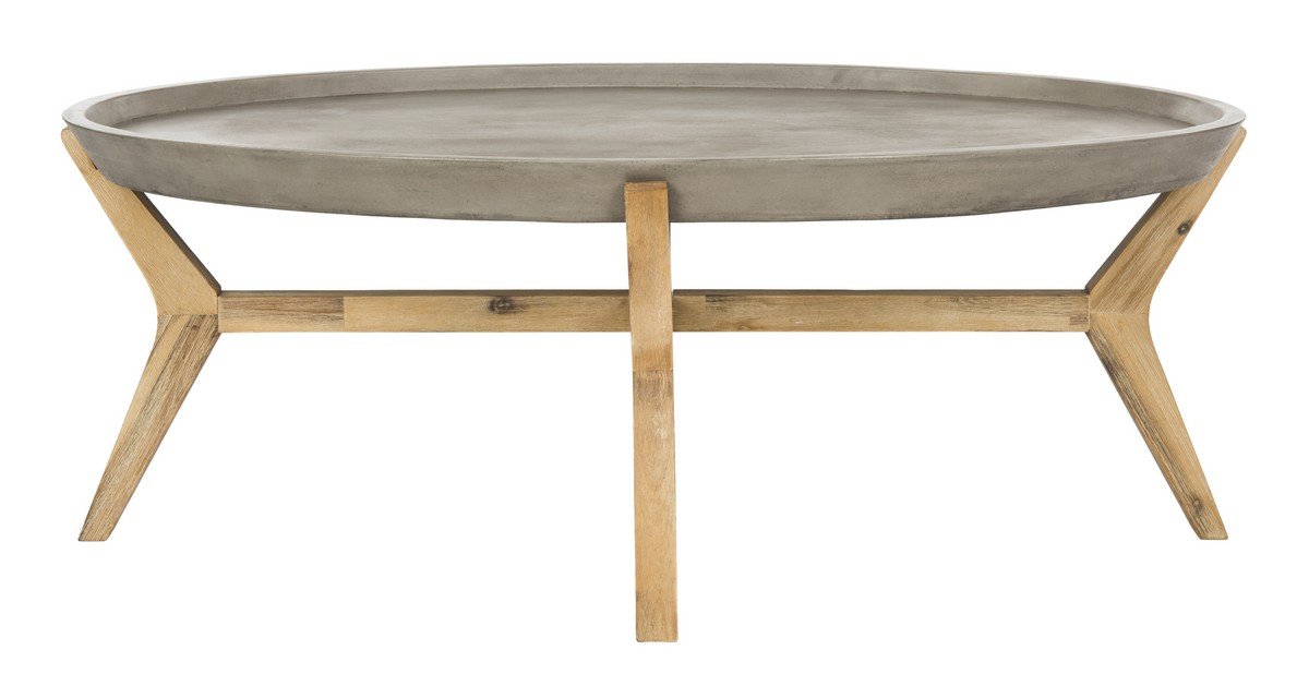VNNA Patio Tables Furniture By Safavieh - Oval concrete dining table