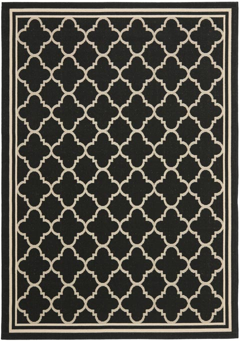 Beige Amp Black Tile Design Indoor Outdoor Rug Safavieh Com
