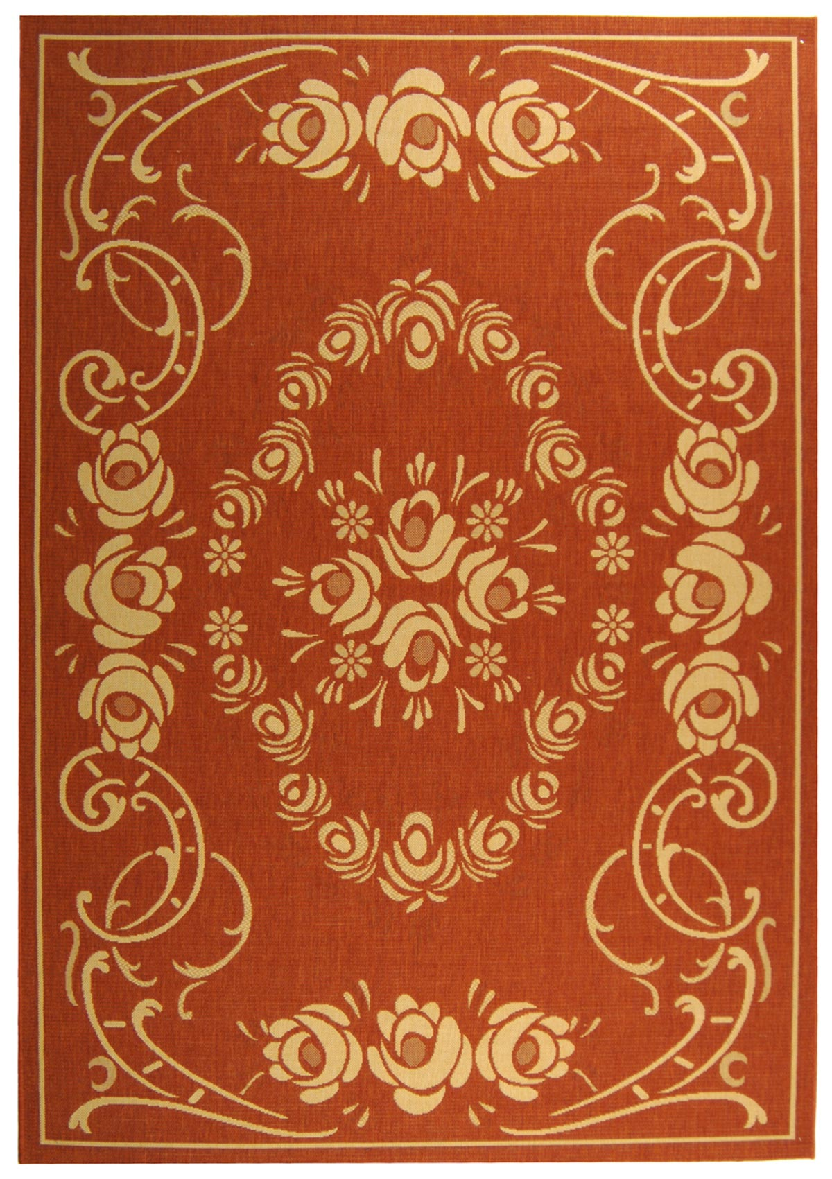 Rust Amp Beige Country Style Indoor Outdoor Rug Safavieh