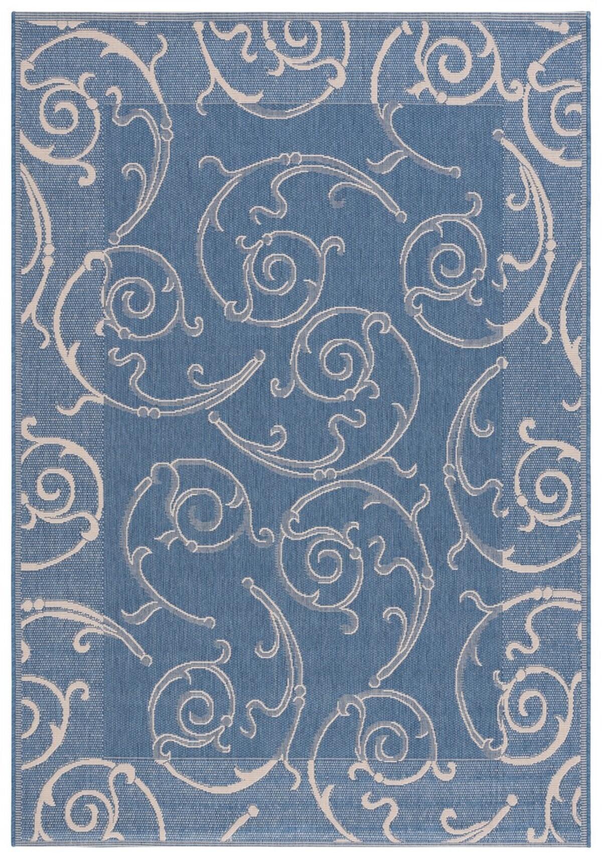 Tone on Tone Blue Vine Scroll Outdoor Rug