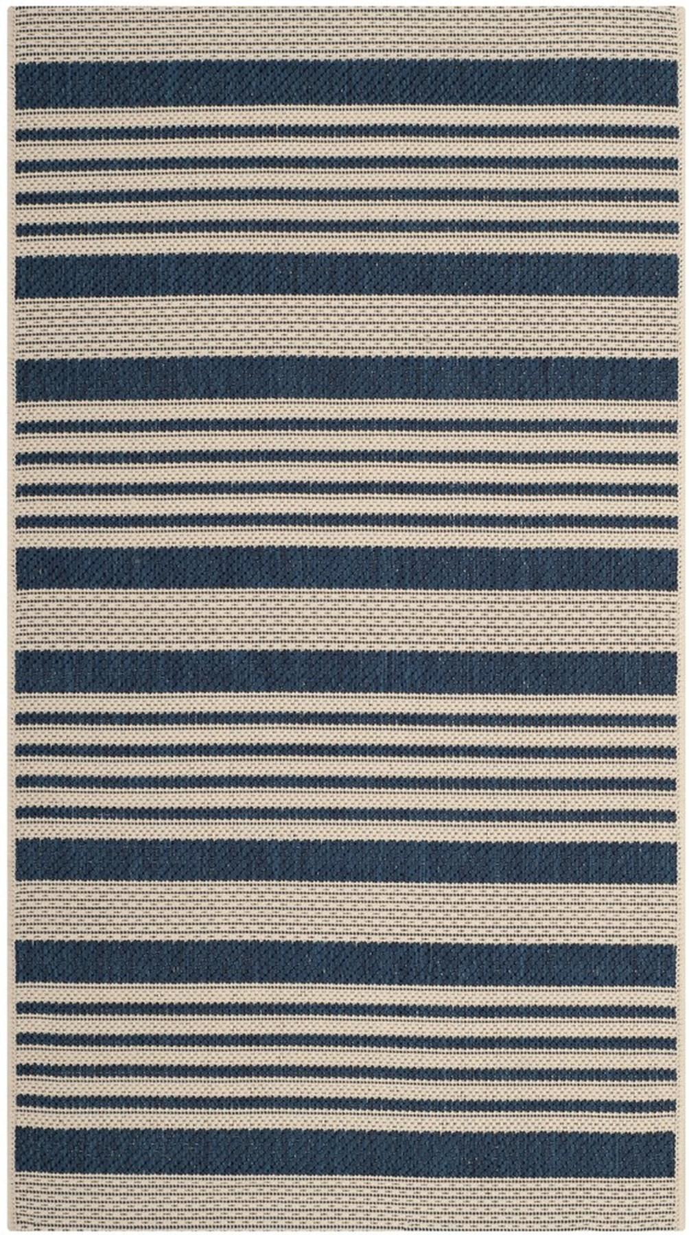 Navy Blue Stripe Indoor Outdoor Rug Safavieh Com