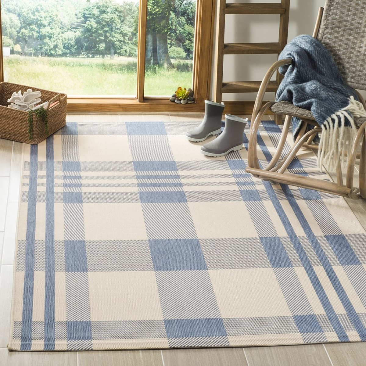 Blue Plaid Outdoor Area Rug Safavieh Com