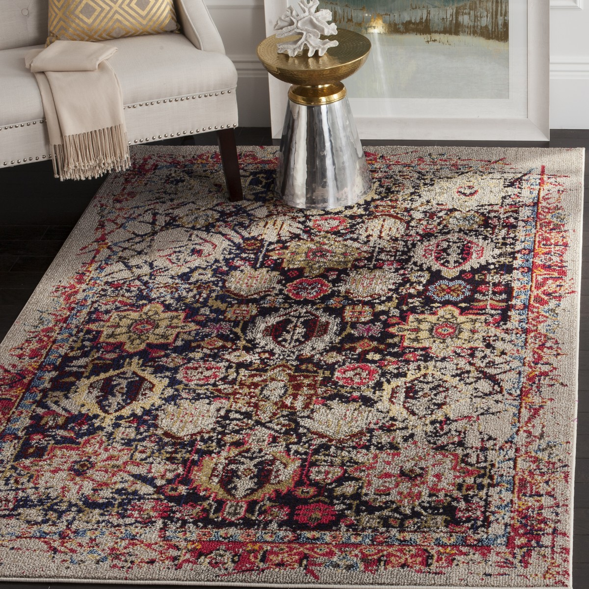 medallion navy distressed oriental safavieh square vintage ivory evoke rug polypropylene blue pin