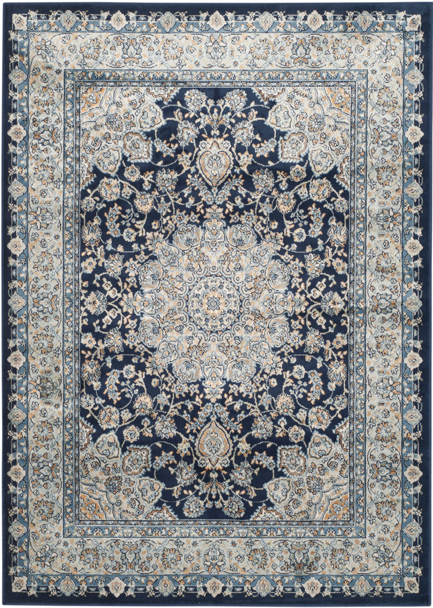 Rug peg605t persian garden area rugs by safavieh for Blue and white carpet