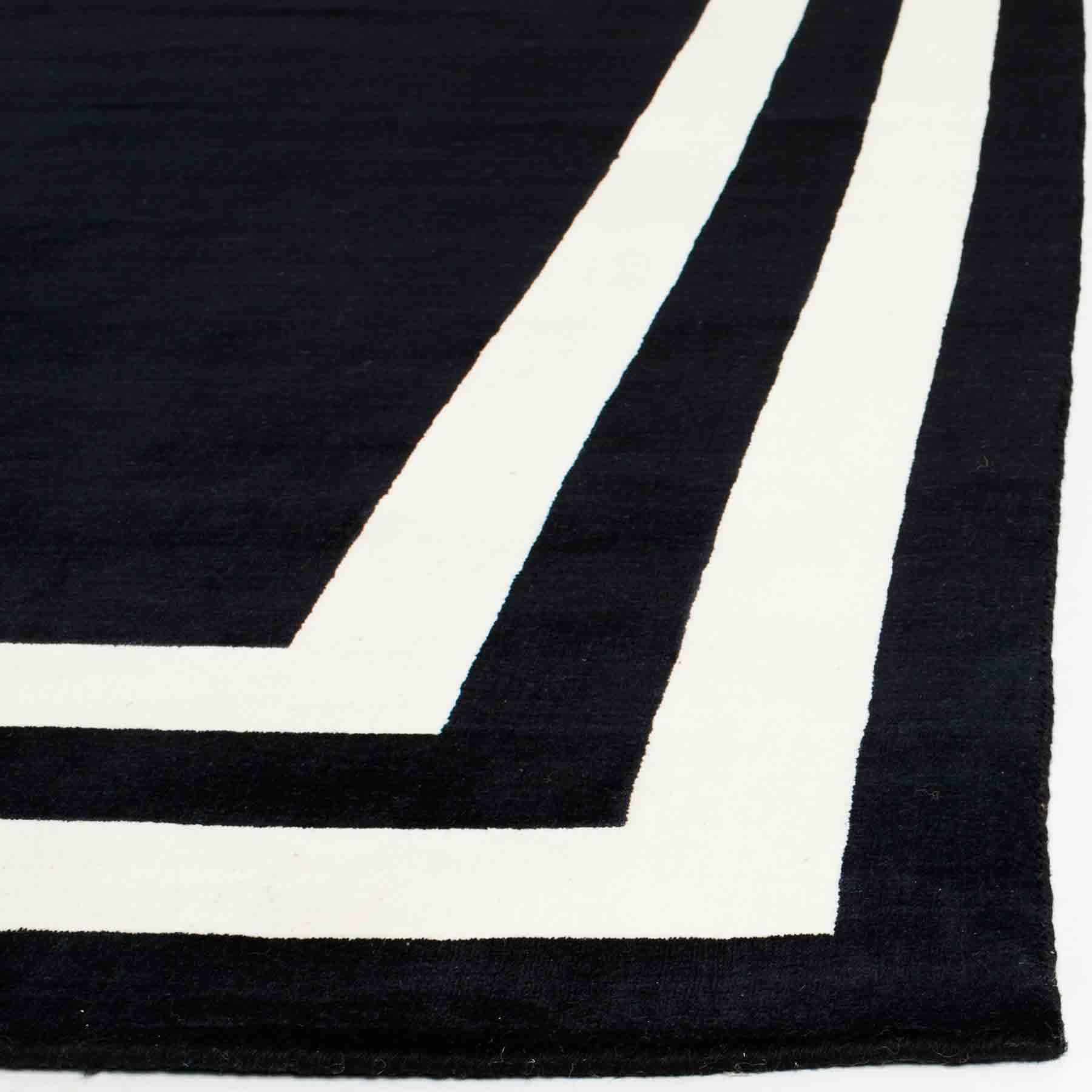 Black Rug With White Border Uniquely Modern Rugs
