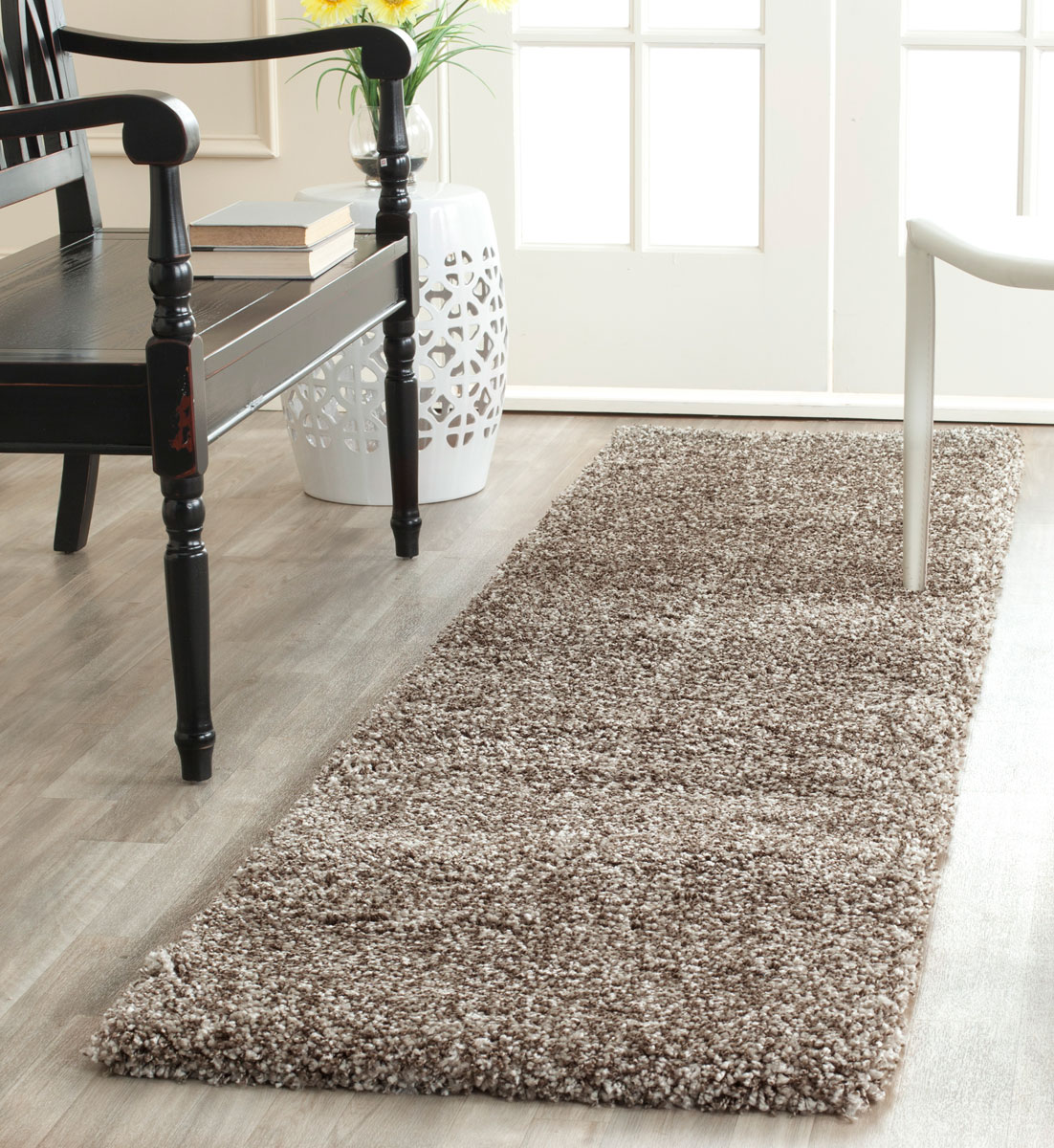 Leather Shag Area Rugs thick pile grey shag rug | milan collection - safavieh