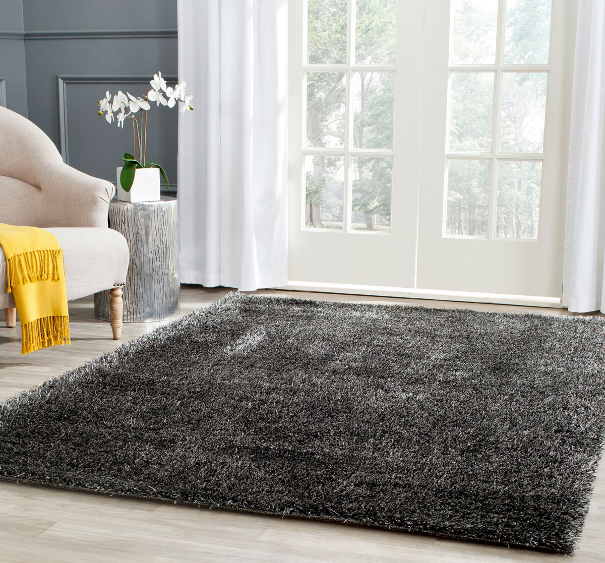 Black Plush Pile Shag | Charlotte Collection - Safavieh.com