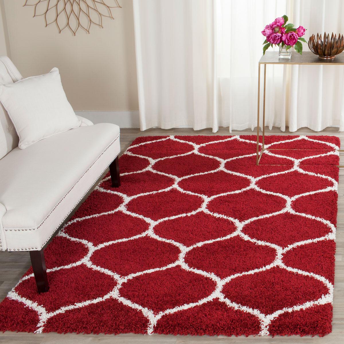 Red Amp White Tile Patterned Shag Hudson Shags Safavieh