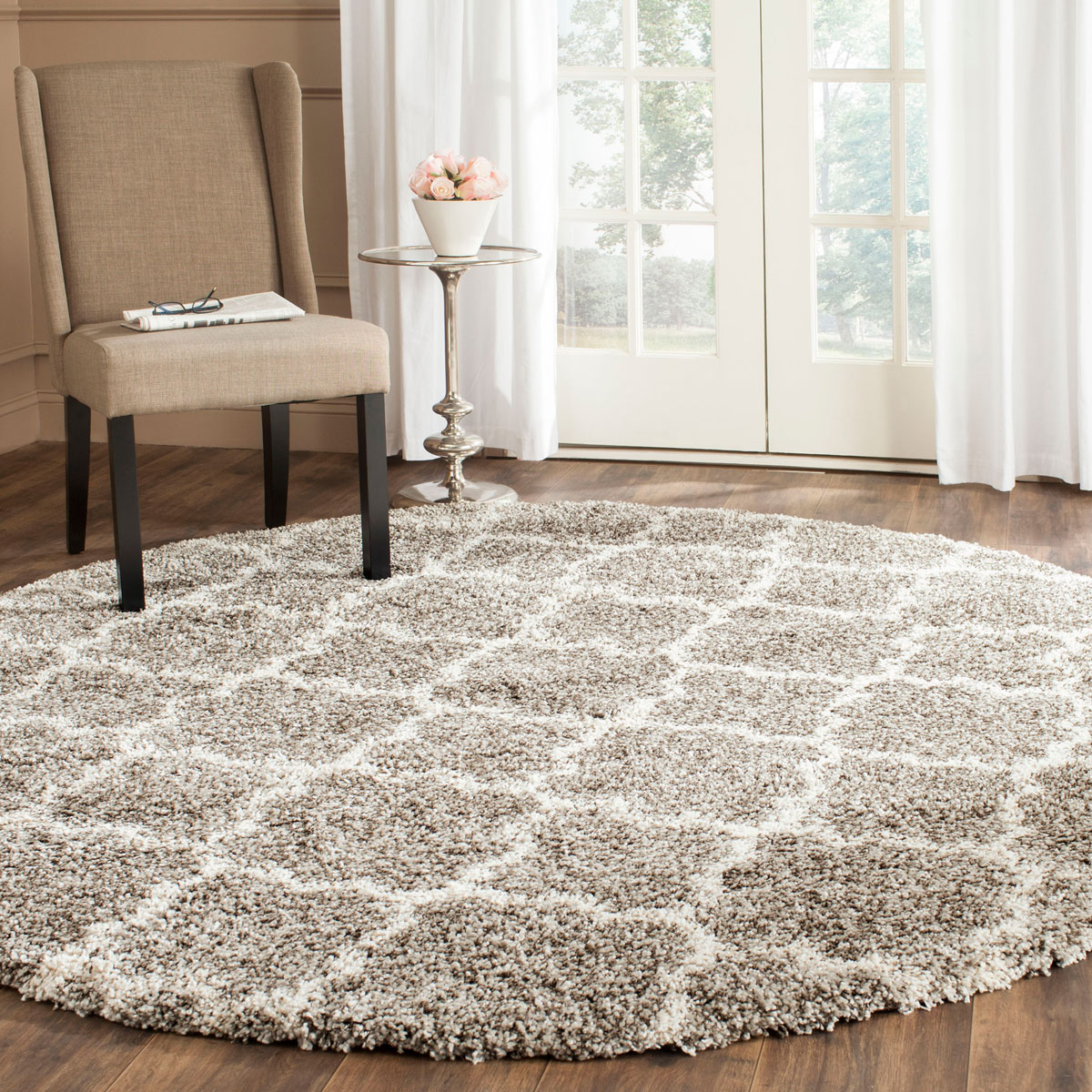 Soft Grey Amp White Shag Hudson Collection Safavieh Com