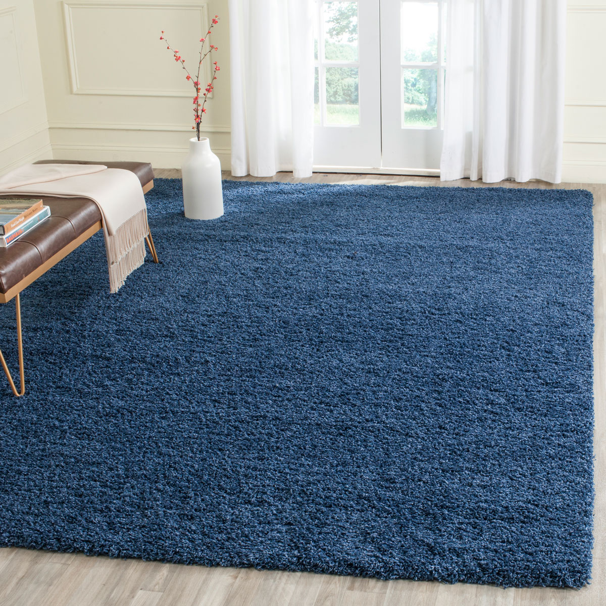 Plush Pile Blue Shag Rug Laguna Collection Safavieh Com