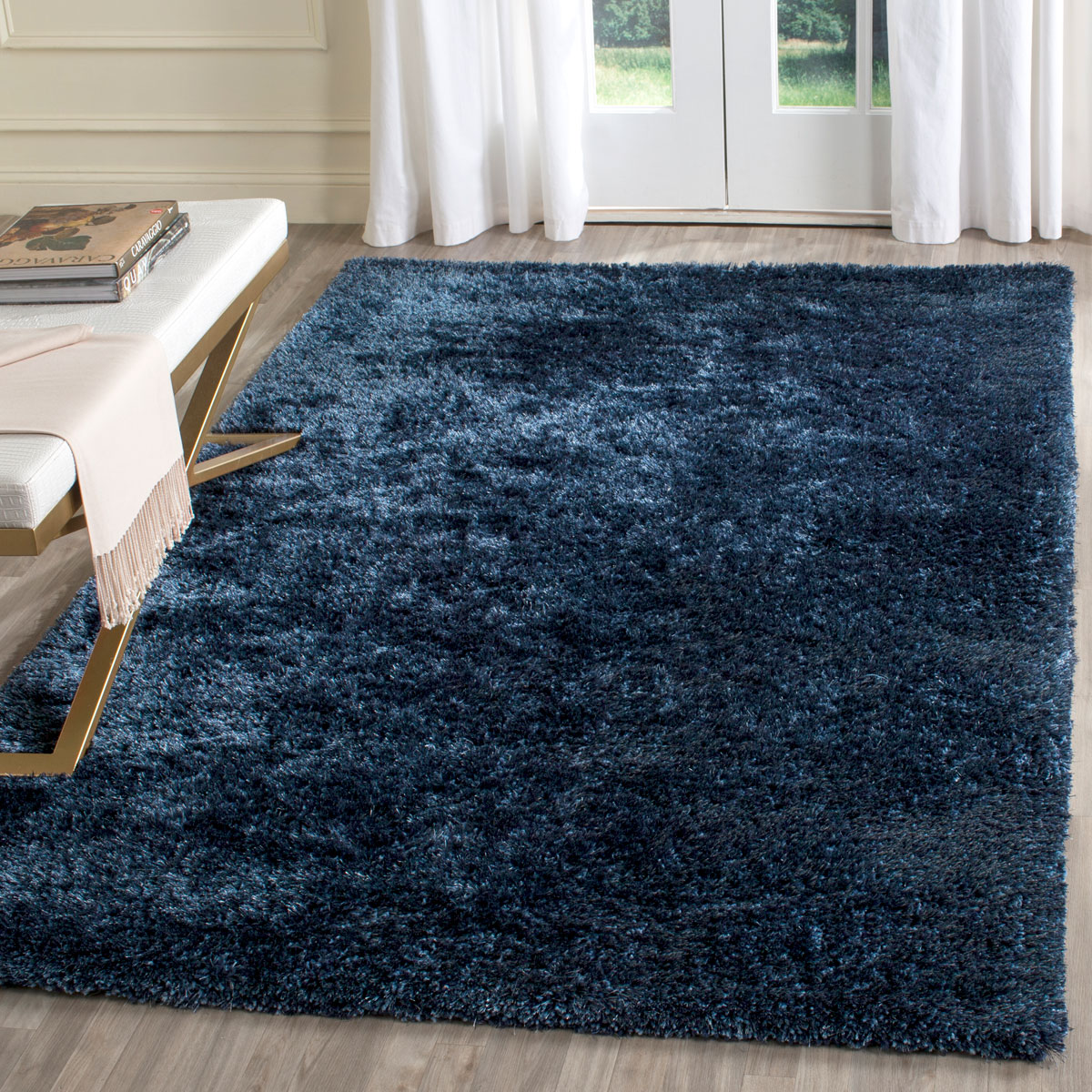 Plush Navy Blue Shag Toronto Collection Safavieh Com