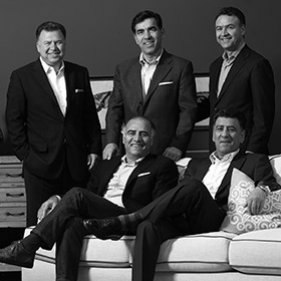 2014: Celebrating a Century of Style: the five Yaraghi brothers who own and operate Safavieh, (left to right standing): Michael, Darius and Arash; seated are Cyrus and Ahmad
